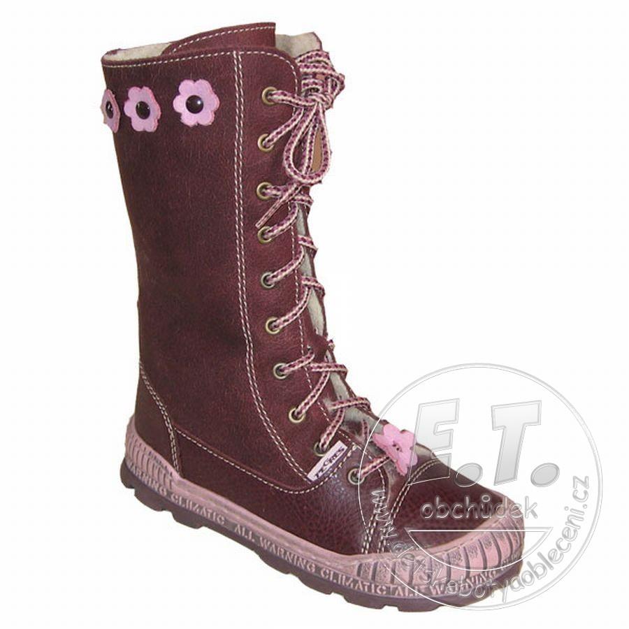 41ecbb9862b Kožené zimní dětské boty PEGRES model 1706 - fialové č.1