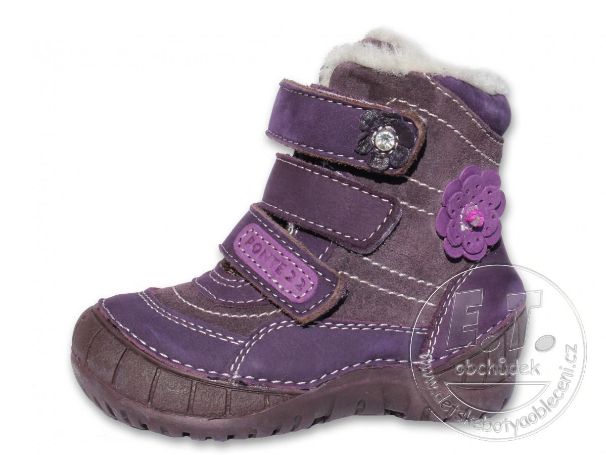 Zimní dětské kožené boty PONTE 22 - fialové č.1 4e049f660b