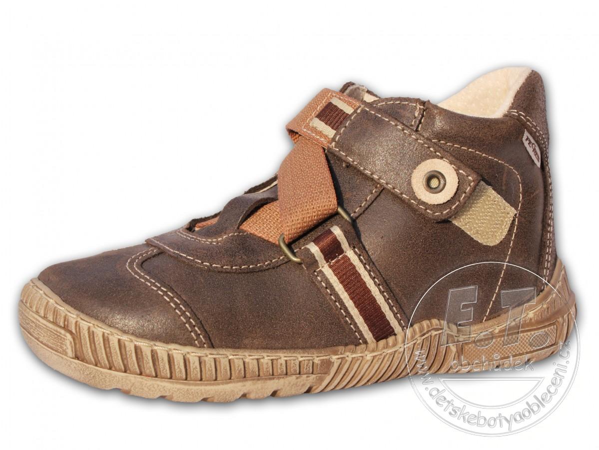 Kotníkové dětské boty PEGRES model 1403 - hnědé  eb8c869b65