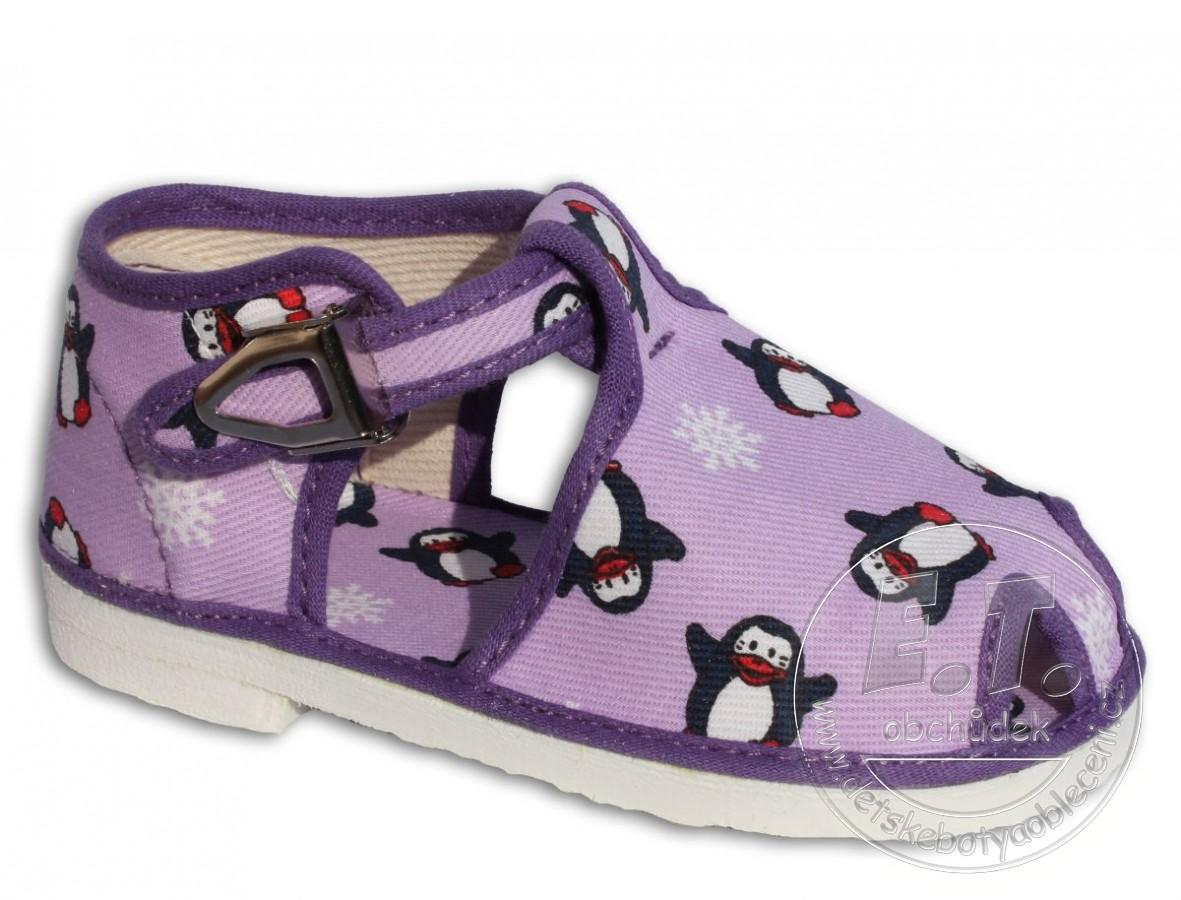 c076e32b782 Bačkůrky kotníkové fialový tučňák