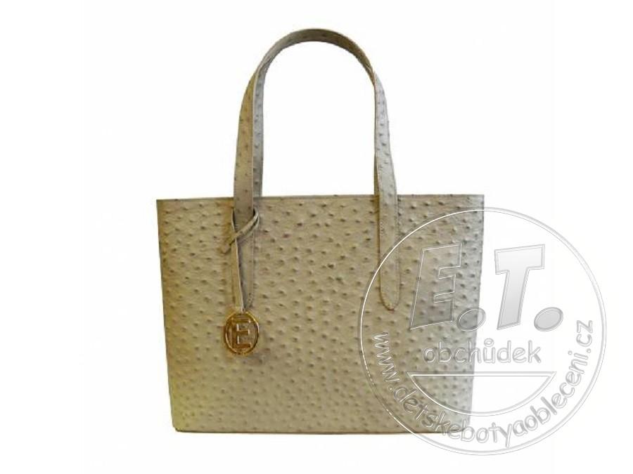 53a6243eb4 Dámská kabelka ELEGA - model SIMONE béžová - pštros zlato
